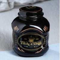 Емкость для сыпучих 1.0л черная гл. рис. чай микс (30 шт в ящ)