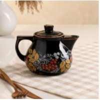 чайник Инжир малый 0,45 л черная глазурь Рябина (40 шт в ящ)
