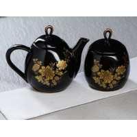 Набор чайный 2 пр. Петелька (чайник 1,1+ сахарница 0,8) черн.глазурь, рис. Золот.ветка (12 шт в ящ)