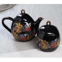 Набор чайный 2 пр. Петелька (чайник 1,1+ сахарница 0,8) черн.глазурь, рис. Рябина (12 шт в ящ)