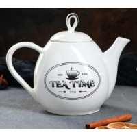 чайник петелька 0,8 л белый рис.чай (24 шт в ящ)