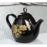 чайник петелька 0,8 л цветная глазурь, черная глазурь рис.чай, цветы микс (24 шт в ящ)