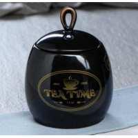 сахарница 0,8 петелька черная глазурь рис.кофе, чай, рябина (24 шт в ящ)
