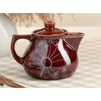 чайник Инжир малый 0,45 л коричневая гл. Одуванчик серебро (40 шт в ящ)