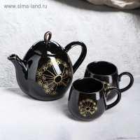 Чайный набор Петелька 3 пр  (чайник 0,8 л, чашка 0,22 - 2 шт) черная глазурь рис. Одуванчик бронза  рис.цветы микс (16 шт в ящ)