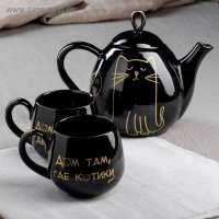 Чайный набор Петелька 3 пр  черная глазурь Кот большой (16 шт в ящ)