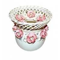 """Ваза-шар """"Жаклин"""" плетенка (бело-розовая лепка), Гламур цвет в ассортименте 8*19*15 (9 шт в ящ.)"""