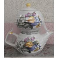 Белый набор большой чайник (1100 мл) и сахарница (800 мл) (16 шт. в ящ.)