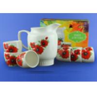 Подарочный набор для сока белый с деколью, кувшин 1,500 л и чашки 0,210 л  (1 шт. в ящ.)