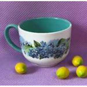 Чашка Аппетитная 0,450л бело-голубая Георгины (84 шт. в ящ.)