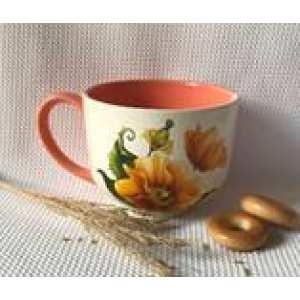 Чашка Аппетитная 0,450л бело-персиковый Мак (84 шт. в ящ.)