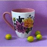 Кружка Кристалл бело-розовая Георгины 0.4л (78 шт в ящ)