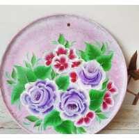 Панно Цветы на цветном фоне 25 см кр.глина (??? шт. в ящ.)