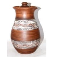 Крынка гончарная соломка ангоб  резка (2) 1.5 л (12 шт. в ящ.)